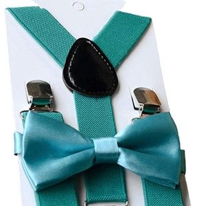 TEAL GIRLS SUSPENDER & BOW TIE SET - *NWT*